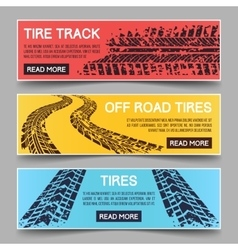 Tire tracks banners set vector image vector image
