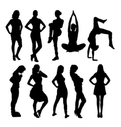 Women activity silhouettes vector image vector image