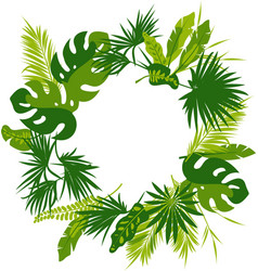 wreath of tropical leaves vector image