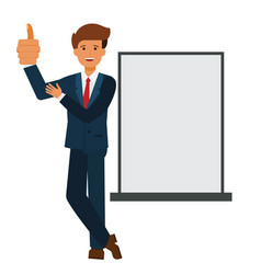 businessman showing thumb up cartoon flat vector image