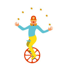 clown juggler on a unicycle icon vector image