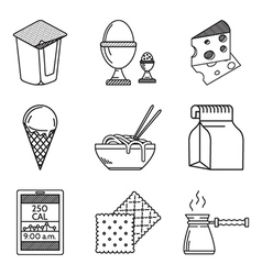 Diet food black line icons vector image