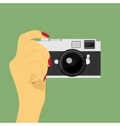 hand with camera vector image