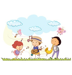 People playing music in the park vector image vector image