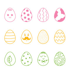set collection of colorful doodle easter eggs vector image