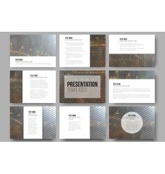 Set of 9 templates for presentation slides Night vector image vector image