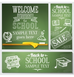Welcome back to school messages on the chalkboard vector image
