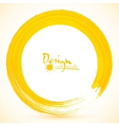 Yellow paintbrush circle frame vector image vector image