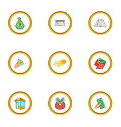 banking icons set cartoon style vector image