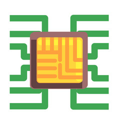 Computer chip plugged to the maternal board part vector