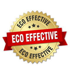 Eco effective 3d gold badge with red ribbon vector