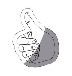 grayscale contour sticker with hand with signal vector image