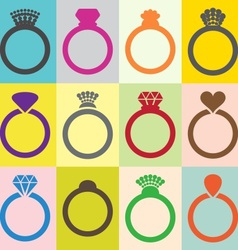 Wedding ring icons vector image vector image
