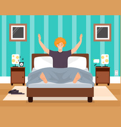 awaking in good mood young man flat vector image