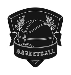 basketball emblembasketball single icon in black vector image vector image