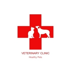 Isolated red veterinary cross and pets on white vector image vector image