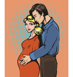 pop art of pregnant woman and vector image vector image
