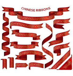 realistic red ribbons with golden chinese ornament vector image vector image