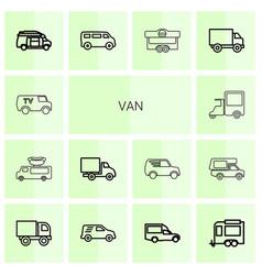 14 van icons vector image