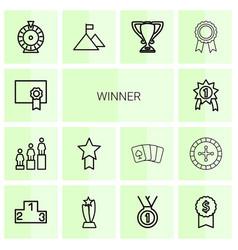 14 winner icons vector