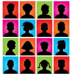 16 anonymous colorful avatars vector