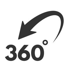 360 degree icon black symbol and rotation icon vector image