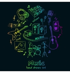 Abstract Music Background with musical instruments vector image