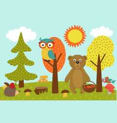 Animals in forest picks mushrooms and berries vector