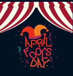 april fools day hat joker confetti vector image