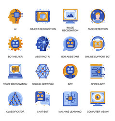 Artificial intelligence icons set in flat style vector