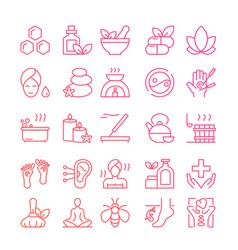 Ayurveda thin line icons set outline vector