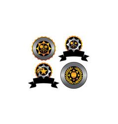 badge star blank template set vector image