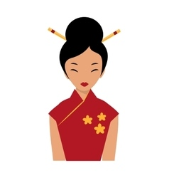 Beautiful chinese girl in traditional cheongsam vector