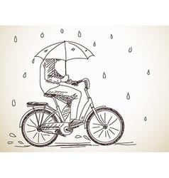 bicyclist with umbrella vector image