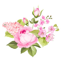 Blooming spring flowers vector