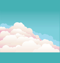 Blue sky with beautifull clouds nature background vector