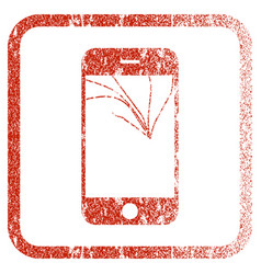 Broken smartphone screen framed textured icon vector