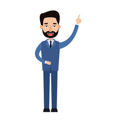 Businessman cartoon character beard male with suit vector