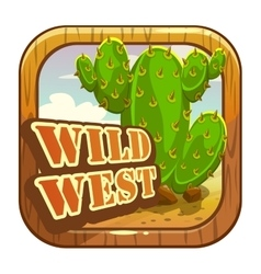 Cartoon app icon with wild west attributes vector