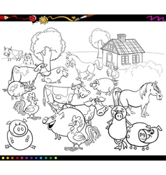 Cartoon farm animals for coloring vector