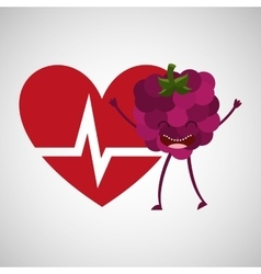 Cartoon heart rate tasty fruit grape vector