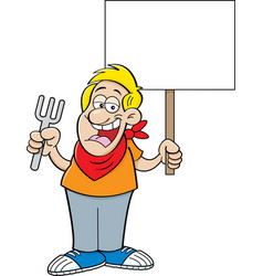 Cartoon man holding a fork and a sign vector