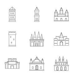 Castles icon set outline style vector