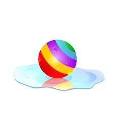 colorful ball in puddle vector image