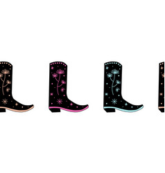 Cowgirl boots seamless border repeating vector