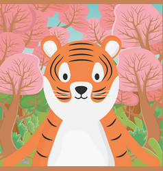 cute animal tiger cartoon in forest vector image