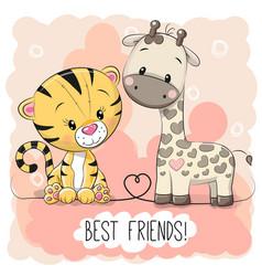 cute tiger and giraffel vector image
