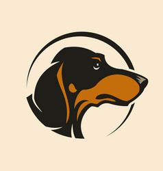 Dachshund dog head sign mascot in circle vector