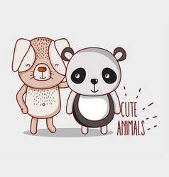 Dog and panda bear vector