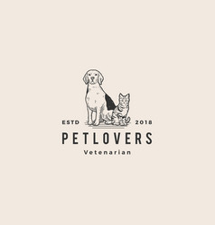 dog cat pet lover logo hipster vintage old hand vector image